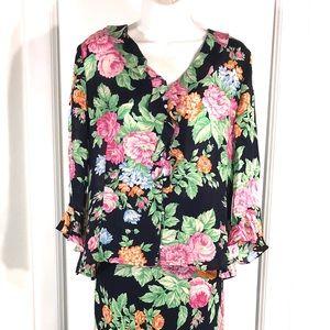 GORGEOUS 100% Silk Floral Skirt Set